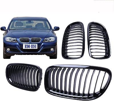 Matte Black Euro Front Center Kidney Grille Grilles Grill For 2009-2011 BMW E90 E91 323i 325i 328i 330i 335i LCI Facelift