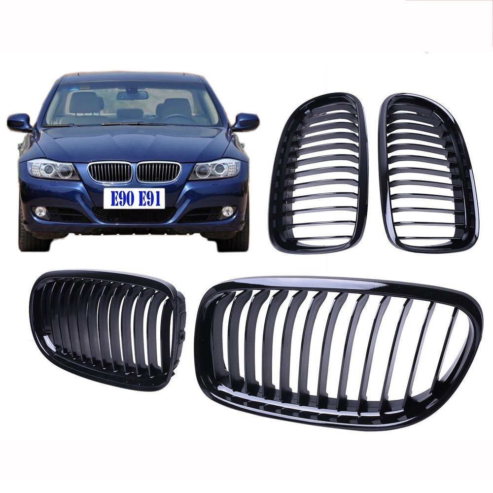 Ricoy Gloss Black Euro Front Center Kidney Grille Grill For 2009-2011 BMW E90 E91 323i 325i 328i 330i 335i 4 Door LCI Facelift