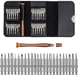 Estuche de cuero 25 en 1 Juego de destornilladores Kit de herramientas de reparación de teléfonos móviles Herramientas de mano multiherramientas: Amazon.es: Bricolaje y herramientas