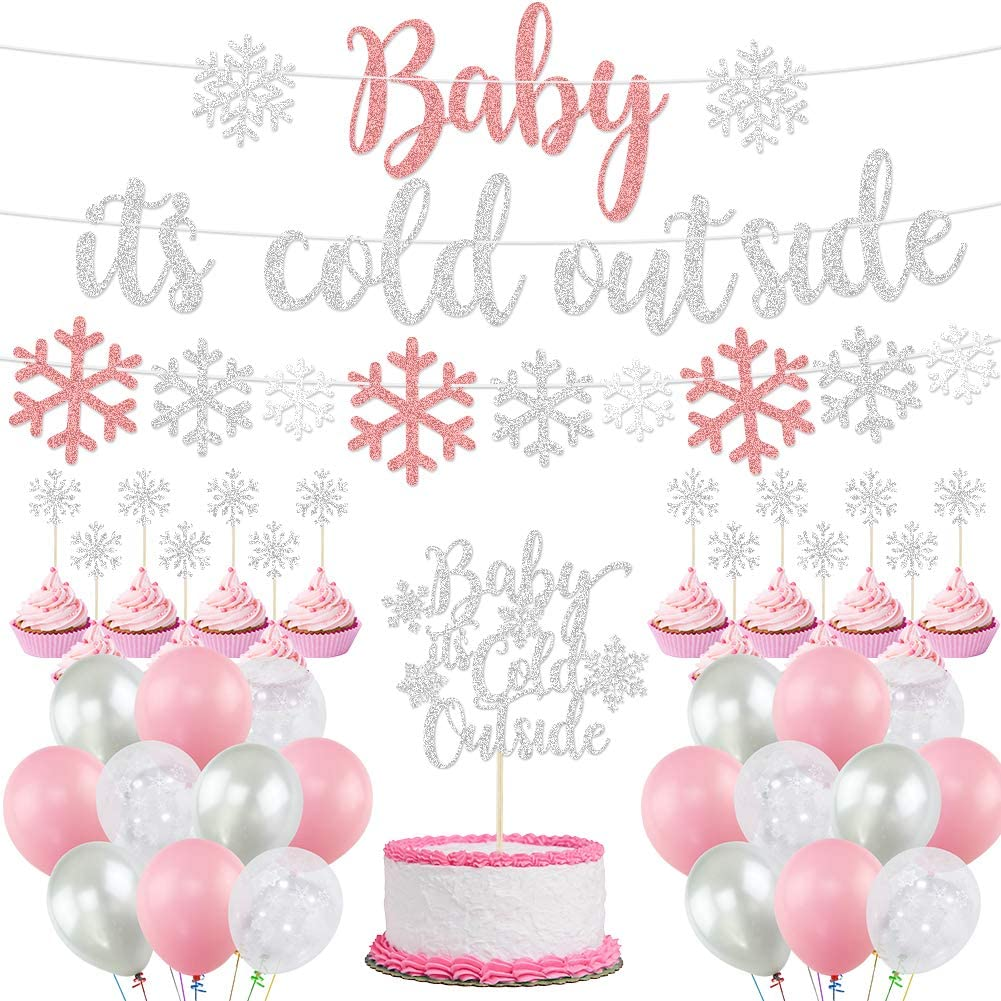 Baby It's Cold Outside Party Decorations, Banner, Snowflake Balloons, Garland for Winter Wonderland Baby Shower, Christmas, Winter Birthday Party Supplies, Pink