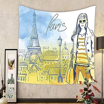 Amazon.com: Gzhihine Custom tapestry Paris Tapestry Paris Theme ...
