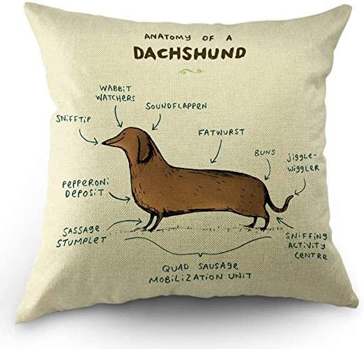 Black Dog Dachshund Cotton Linen Cushion Cover Home Decorative Pillow Case