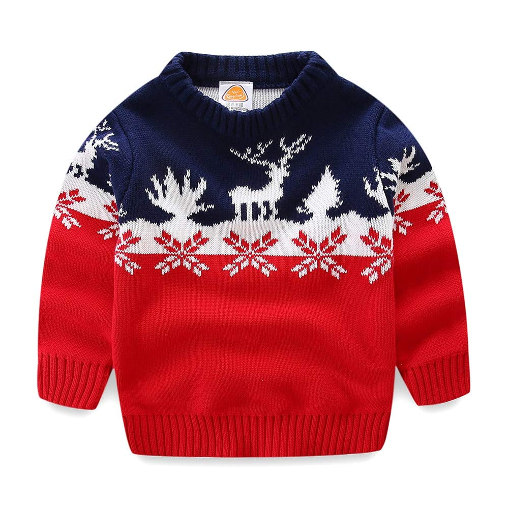 UWESPRING Kids Boy Sweater Cartoon Deer Knit Pullover Christmas Gift Made in China