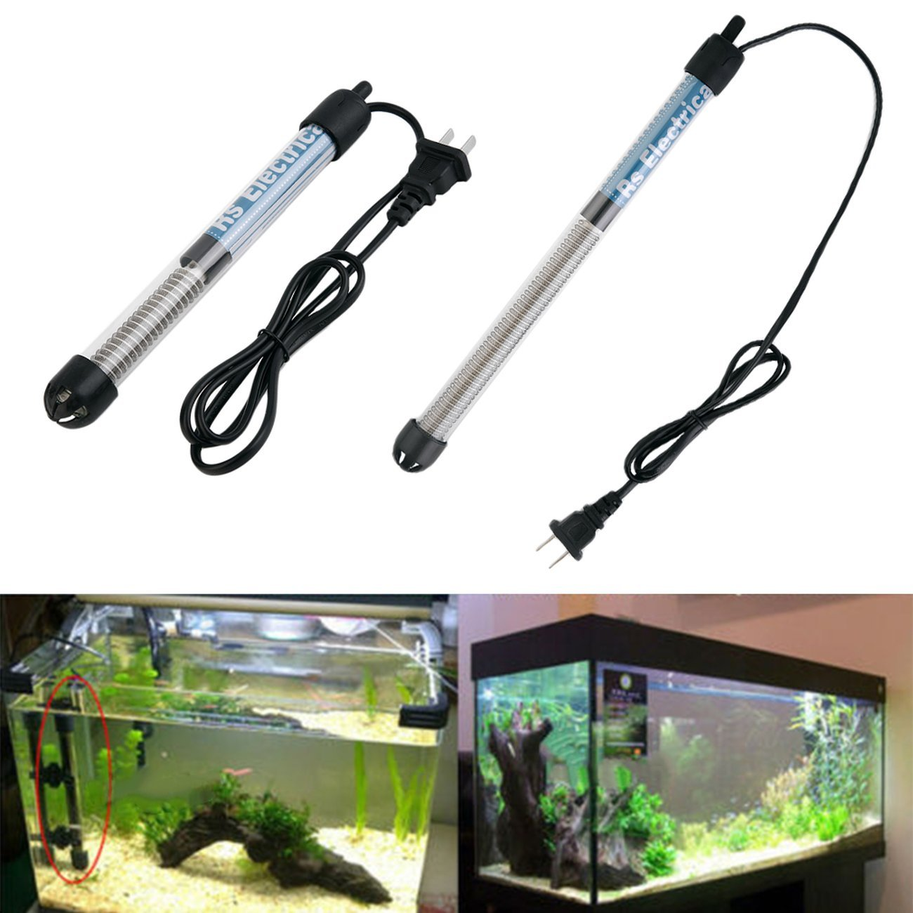 Accessori per acquari Resistente sommergibile Riscaldatore Asta di Riscaldamento per Acquario Vetro Serbatoio di Pesce Regolazione della Temperatura JIO-T Trasparente