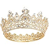 Makone Crowns for Women Gold Crystal Queen Crowns and Tiaras Girls Hair Accessories for Wedding Prom Bridal Party Halloween Costume