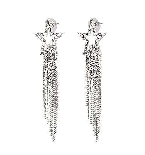 f7ff47bae Women's Tassel Earrings Star Ear Stud Pave Crystal Dangle Earrings Boho  Waterfall Beaded Fringe Drop Earring