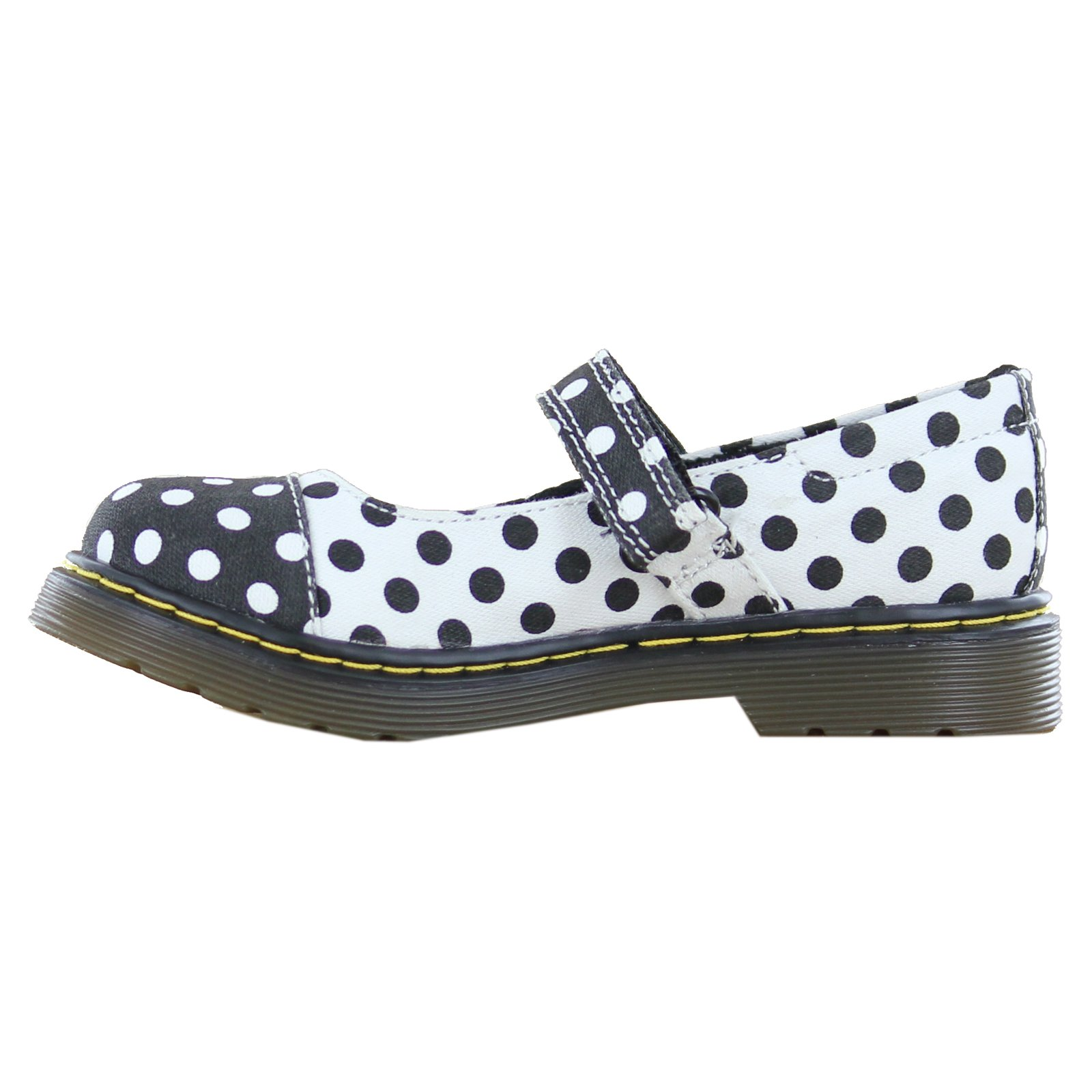 Dr. Martens Kid's Collection Girl's Bijou Toe Cap Mary Jane (Little Kid) Black+White/White+Black Dots Fine Canvas Flat 13 UK (1 US Little Kid) M by Dr. Martens (Image #3)