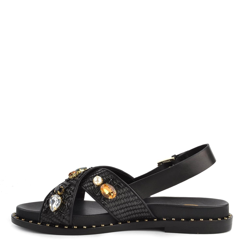 f94a3dde6376 Ash Maya Sandals Black Woven Leather   Gemstone 41 Black  Amazon.co.uk   Shoes   Bags