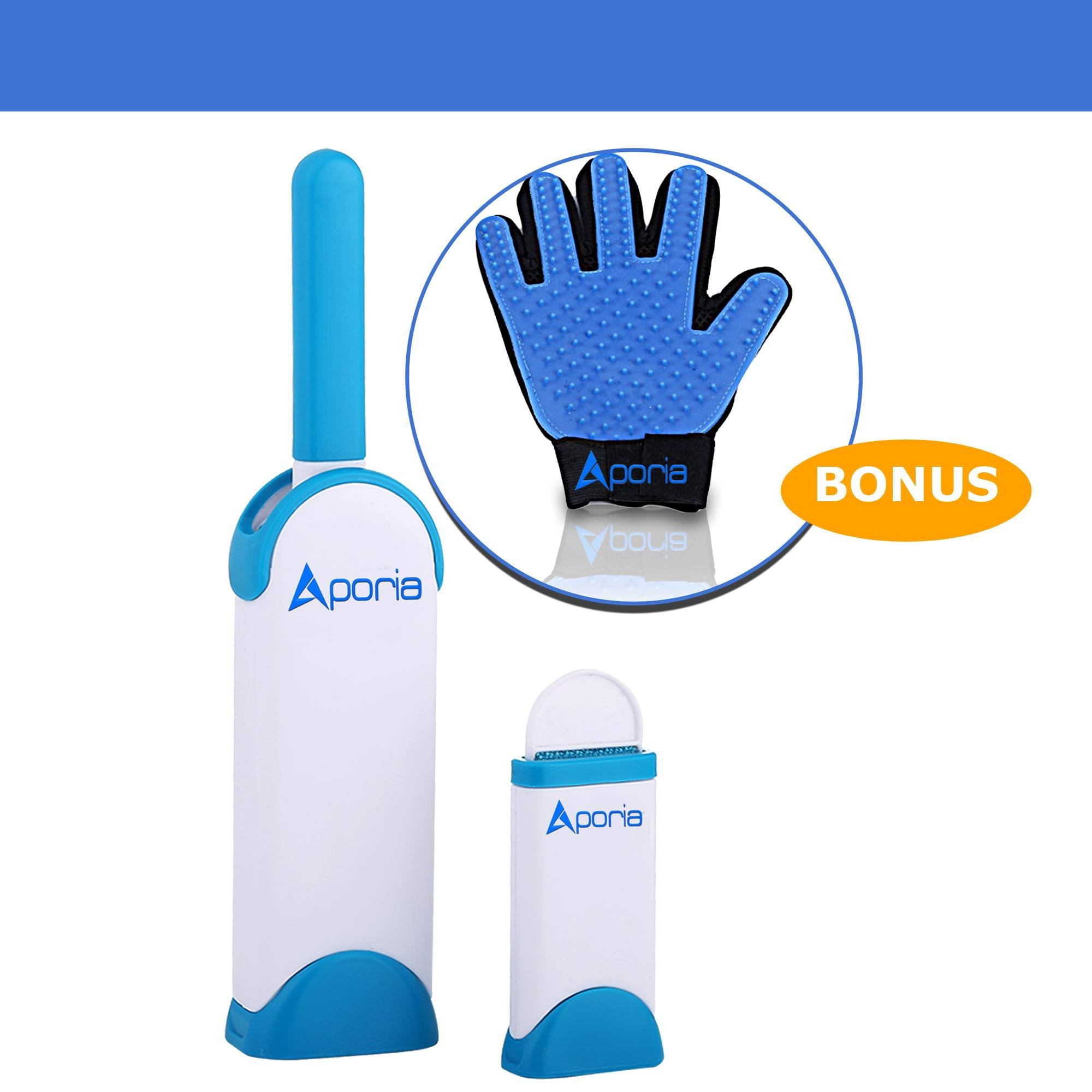 Aporia Pet Hair Remover for Furniture, with Bonus Grooming Glove Hair Remover for Dog Cat Pets, with Self-Cleaning Base Double-Sided Household Cleaning Pet Hair Removal Brushes for Clothes & Sofa