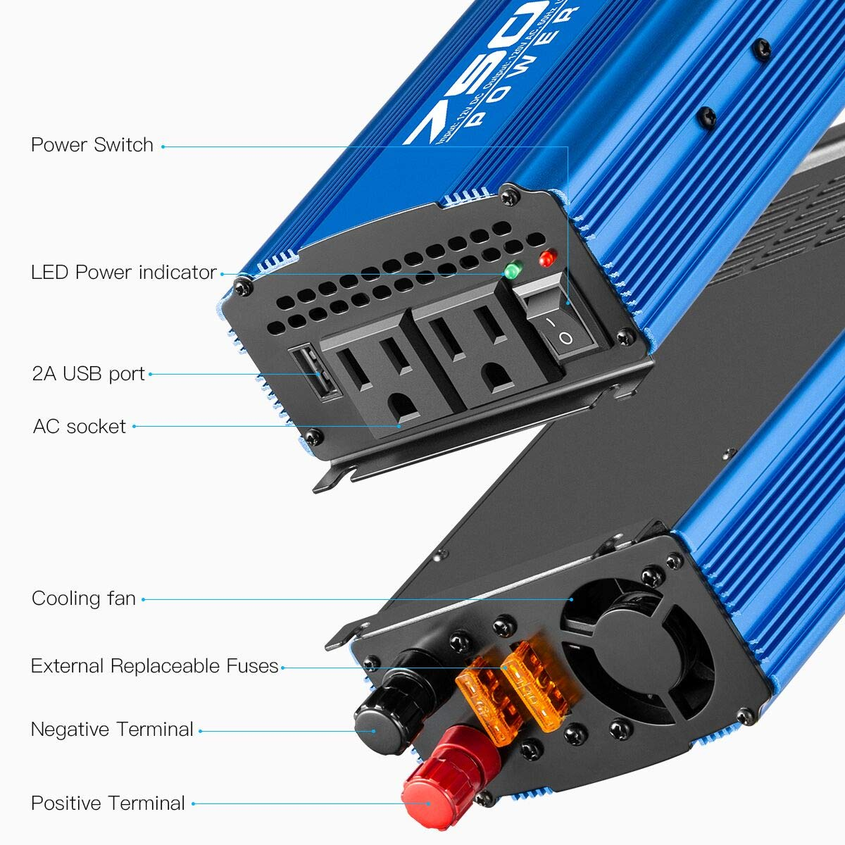 Kinverch 500W Continuous//1000W Peak Car Power Inverter DC 12V to AC 110V Adapter with 2 AC Outlets and 2A USB Charging Port