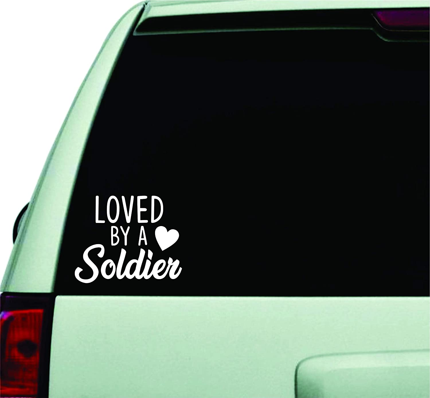 Loved by A Soldier Wall Decal Quote Design Sticker Vinyl Art Words Decor Car Truck JDM Windshield Race Drift Window Boy Girl Teen Love Heart Army Navy Marines Coast Guard US United States Military
