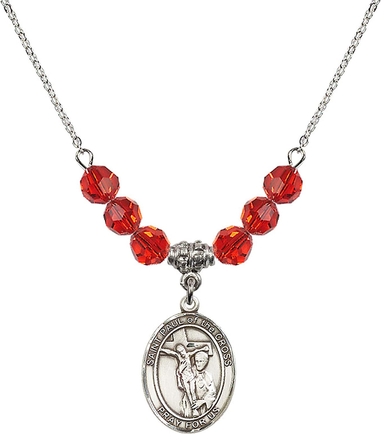 Bonyak Jewelry 18 Inch Rhodium Plated Necklace w// 6mm Red July Birth Month Stone Beads and Saint Paul of The Cross Charm