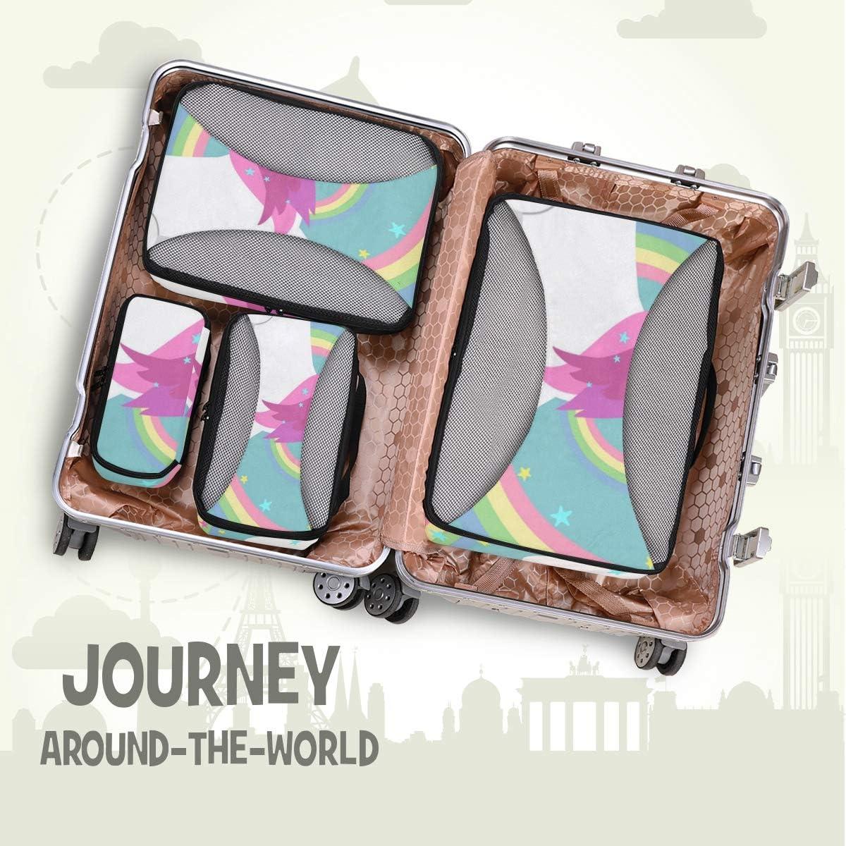 4 Set Packing Cubes Travel Luggage Packing Organizers Colored Rainbow Unicorn
