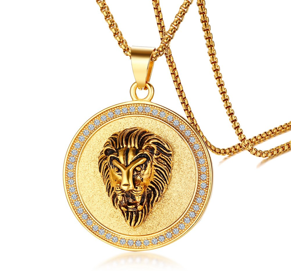 Gold Plated Stainless Steel Circle of Rhinetstone Crystal Lion Head Round Pendant for Men,24''Chain
