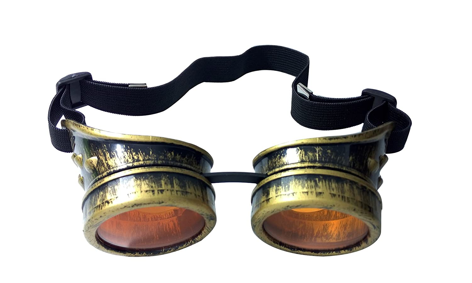 Silver Blue MaxAike1 Steampunk Antique Vintage Cyber Goggles Welding Goth Cosplay