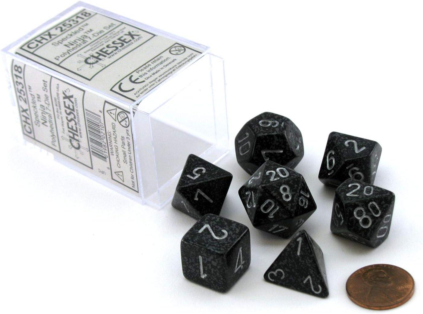 Chessex Dice: Polyhedral 7-Die Speckled Dice Set - Ninja