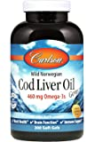 Carlson Cod Liver Oil, Lightly Lemon, 460 mg Omega-3s, 300 Soft Gels (Packages may vary)
