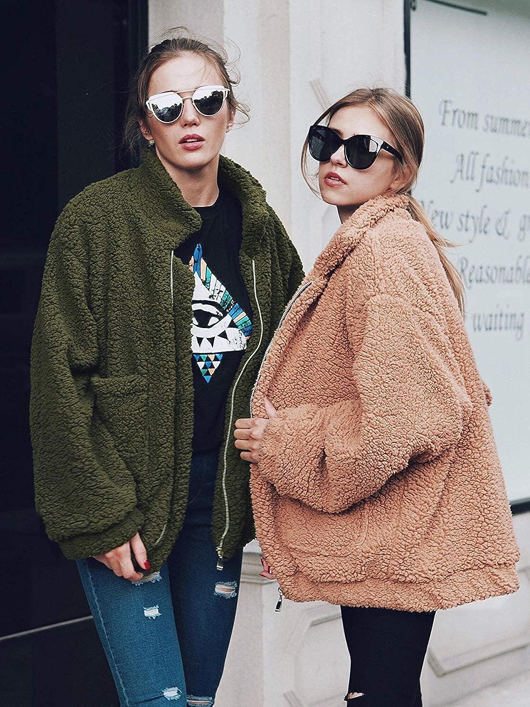 Romanstii Femme Manteau Manche Elegant Longue Streetwear Jacket Cardigan Mode Hiver Chaud Peluche Blouson Vert