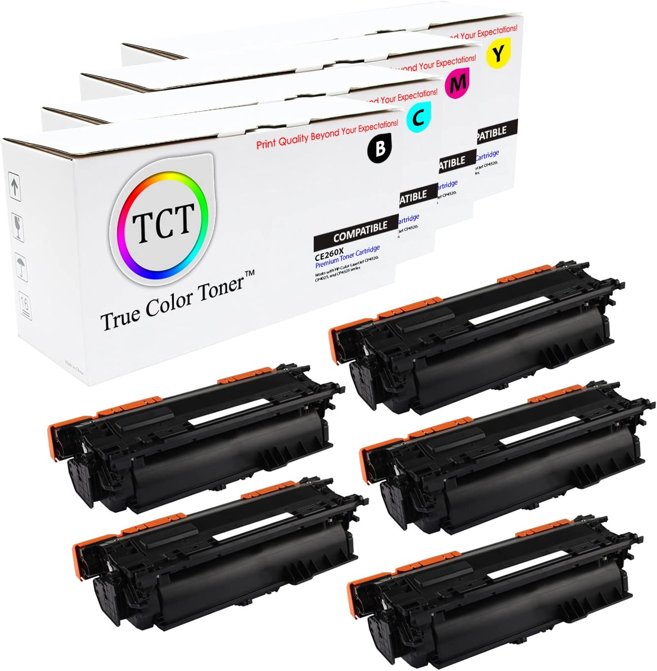 Black, Cyan, Magenta, Yellow 5 Pack TCT Premium Compatible Toner Cartridge Replacement for HP 649X 648A CE260X CE261A CE262A CE263A High Yield Works with HP Color Laserjet CP4520 CP4025 Printers