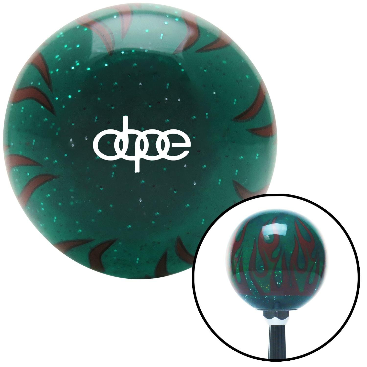 American Shifter 300908 Shift Knob White Dope Green Flame Metal Flake with M16 x 1.5 Insert