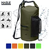 HASLE OUTFITTERS Waterproof Dry Bag-10L/20L Roll Top Compression Sack with Shoulder Straps,Front Zippered Pouch,Mesh Side Pocket Keeps Gear Dry for Floating,Boating,Kayaking, Fishing,Swimming,Hiking