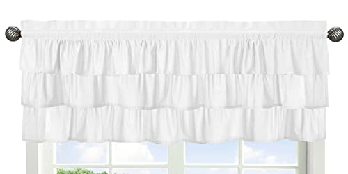 Solid Color White Shabby Chic Ruffle Window Treatment Valance for Harper Collection by Sweet Jojo Designs