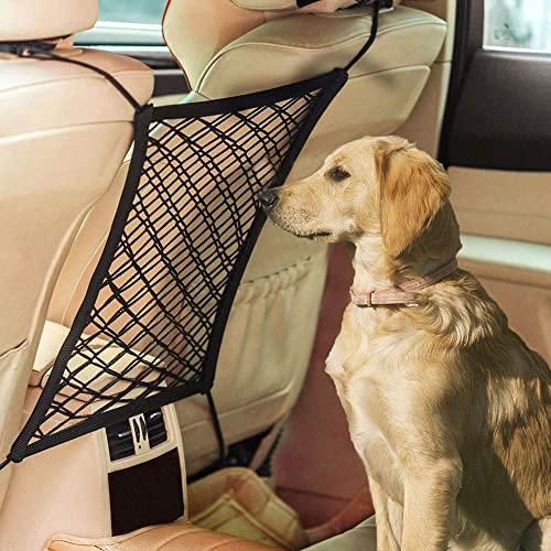 Dog Car Net Barrier, Car Seat Storage Mesh, Universal Stretchy Auto Seat Net Organizer, Design for Pet Disturb Stopper Storage Pouch, Drive Safely with Children Pets