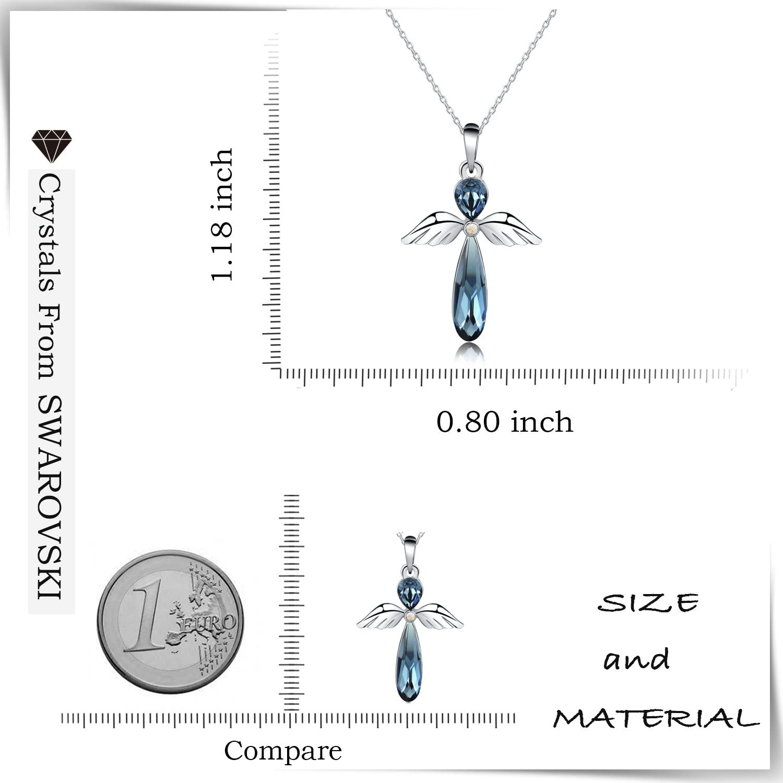 5,1 cm fabriqu/é avec cristal Swarovski HERMOSO Collier avec pendentif ange gardien pour femme cha/îne de bijoux en plaqu/é platine 40,6 cm