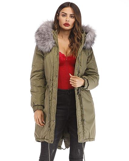 8f6646ebbb7 Roiii Women Casual Winter Warm Thicken Down Faux Fur Coat Outdoor Hood Parka  Long Jacket Plus