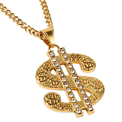 6ee33d44 NYUK Gold Chain for Men with Dollar Sign Pendant Necklace