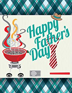 Wamika Happy Father's Day Hat Tie Garden Yard Flag Banner House Home Decor 12 x 18 inch, Beard BBQ Small Mini Decorative Double Sided Welcome Flags for Holiday Wedding Party Outdoor Outside