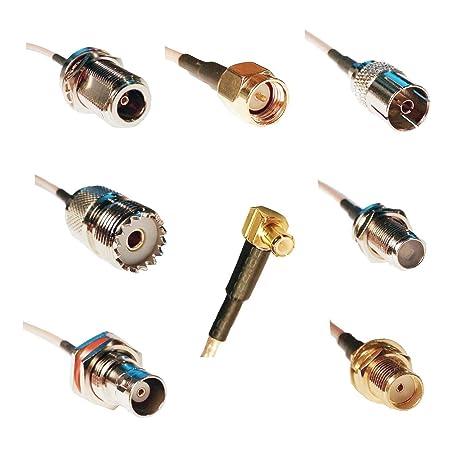 RTL-SDR Blog MCX Male to SMA F, SMA M, BNC F, Type NF, Type FF, UHF F, PAL  F RG316 20cm Pigtail Adapters Bundle