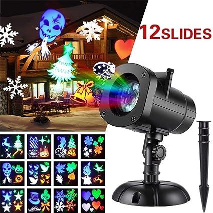 Amazon.com: Holiday Proyector de LED 12 patrones Projector ...