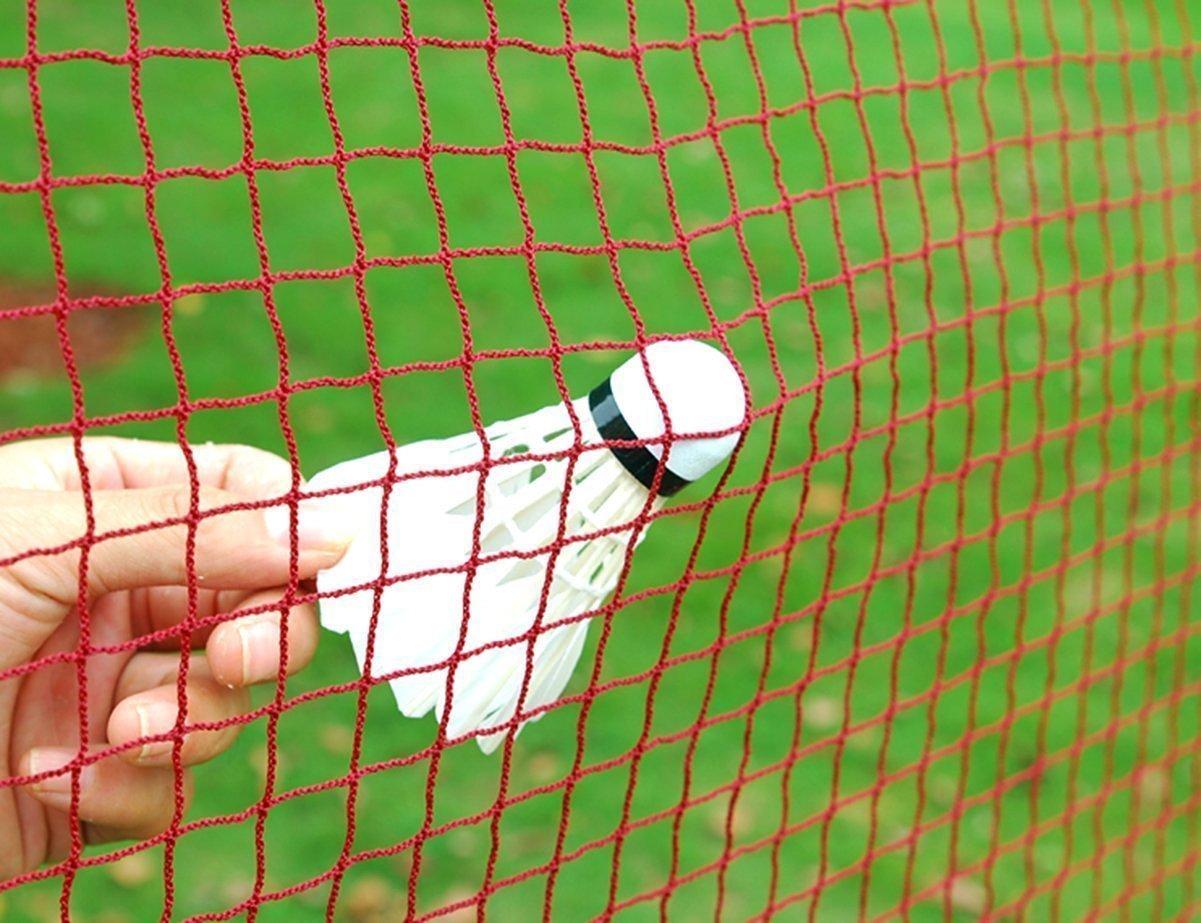 Angker - Red de bádminton de malla trenzada de nailon en rojo para interior o exterior, deportes, jardín, patio escolar