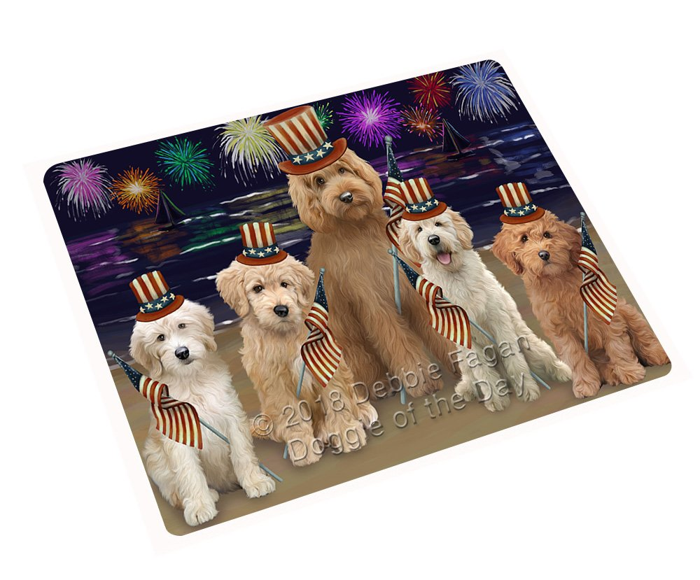 Doggie of the Day 4th of July Independence Day花火Goldendoodles犬毛布blnkt88158 60X80 Woven DOTD-BLNKT-A88165 B07FRGX43Q  60X80 Woven