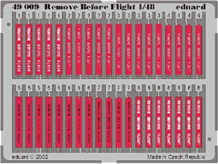 EDP49103 Remove Before Flight Tags Steel Eduard Photoetch 1:48