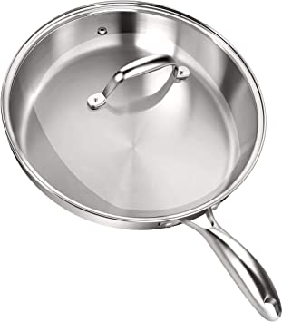 Sartén - Sarten Antiadherente - Acero Inoxidable Sarten Induccion - 30.5 cm - Plata - por Utopia Kitchen: Amazon.es: Hogar