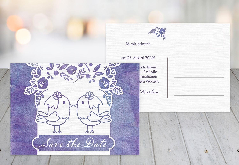 Save-the-Date Vogelpaar - Frauen, 80 Karten, MattGrün B07B6NM8DV | Online Outlet Store  | Die Farbe ist sehr auffällig  | Authentische Garantie