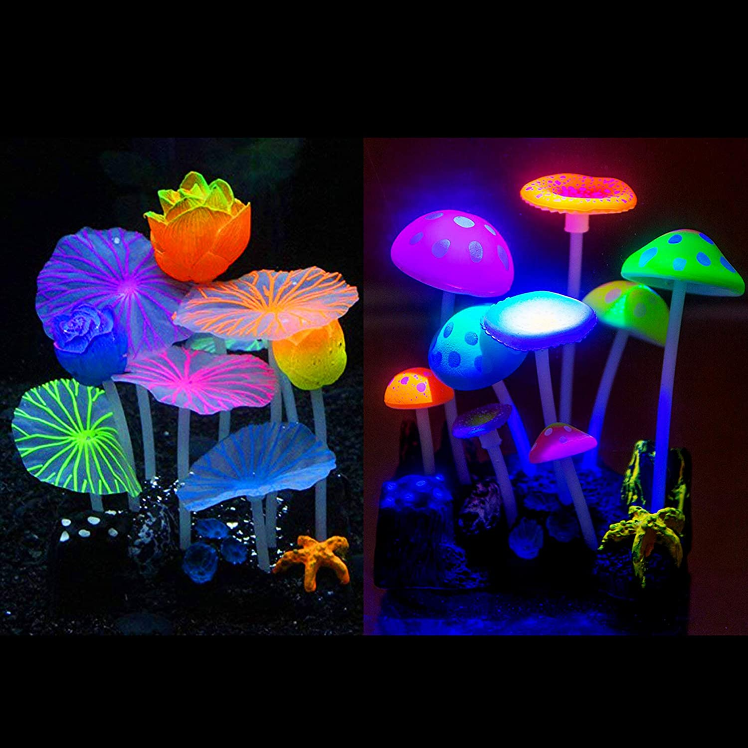 Aquarium Decorations, Fish Tank Simulation Coral Plant Decorations Glowing Silicone Accessories 2pack
