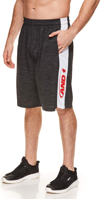 12 Inch Inseam AND1 Mens Basketball Gym /& Running Shorts w//Elastic Waistband /& Pockets