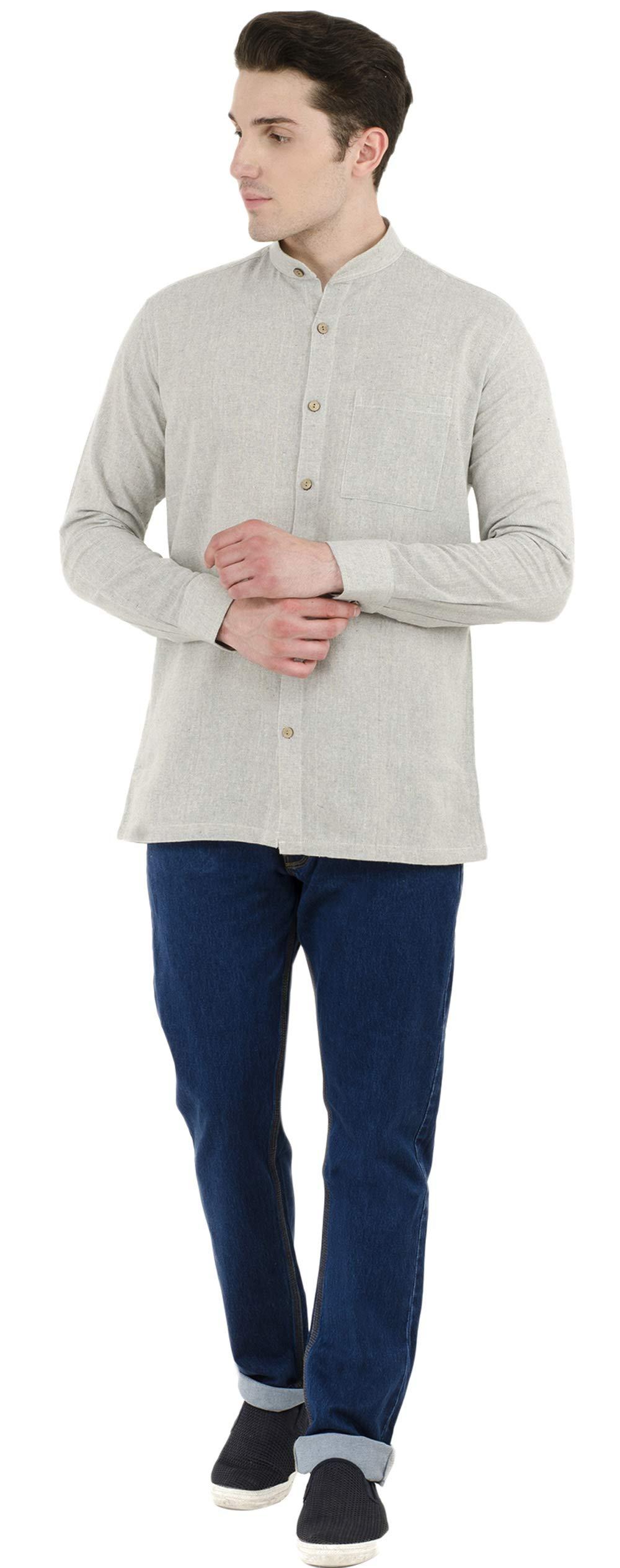 SKAVIJ Button Down Shirts for Men Cotton Long Sleeve Casual Shirts Regular Fit Grey by SKAVIJ (Image #7)