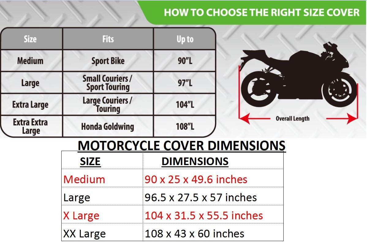 Premium Grade Weather Resistant Motorcycle Cover. Waterproof High Grade Polyester w/Soft Screen & Heat Resistant Shield Lockable fabric, Durable & Long Lasting. Sportbikes & Cruisers (XL, black) by Nuzari (Image #8)