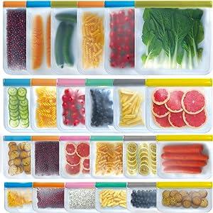 SYEENIFY 24 PACK Reusable Storage Bags, 6 Reusable Gallon Bags & 6 Reusable Sandwich Bags & 6 Reusable Lunch Bag & 6 Reusable Snack Bags, BPA FREE Leak-proof Freezer Bags for Meat Fruit Veggies