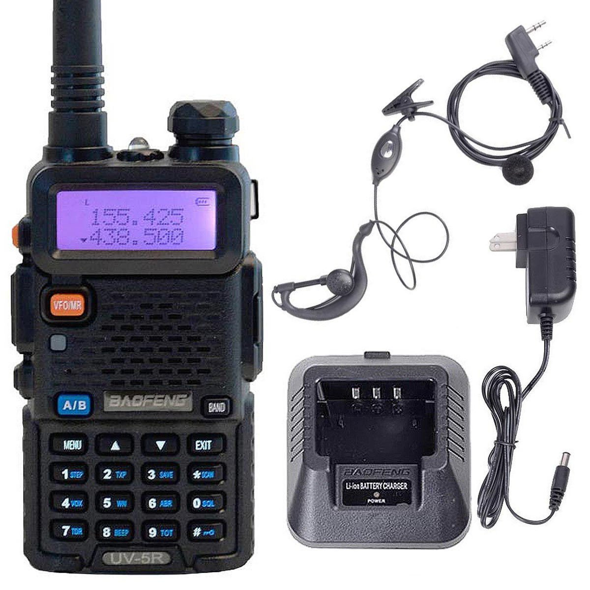 Safstar Rechargeable Walkie Talkies Two Way Radio UV-5R High Power Dual Band Interphone for Hiking Camping Trolling