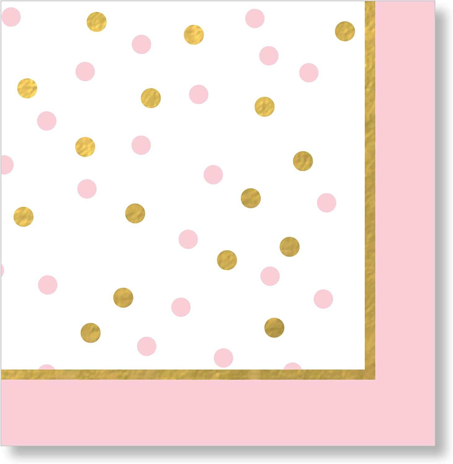 Carter's TW4-19068 Polka Dot Baby Shower Beverage Napkins (20 Piece), Pink and Gold W x 4.825
