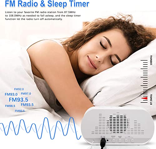 Alarm Clock Radio,FM with Sleep Timer,Dual USB Ports for Charging,Dual Alarms,Digital Display with Dimmer,Snooze,Thermometer for Bedrooms,Adjustable Volume,Gift for Kids,Heavy Sleepers White