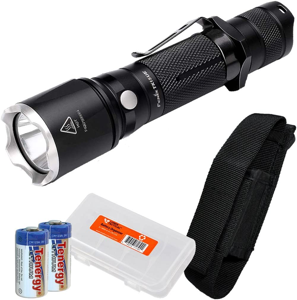 Lumen Tactical Fenix TK15UE TK15 Ultimate Edition 1000 LED Flashlight w 2X CR123A Batteries and LumenTac Battery Organizer