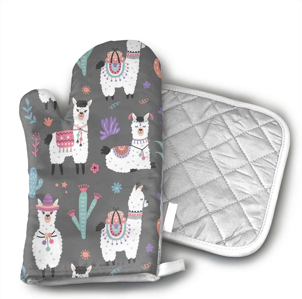 Cartoon Llama Alpaca Seamless Pattern Oven Mitts and Potholders (2-Piece Sets) - Kitchen Set with Cotton Heat Resistant,Oven Gloves for BBQ Cooking Baking Grilling