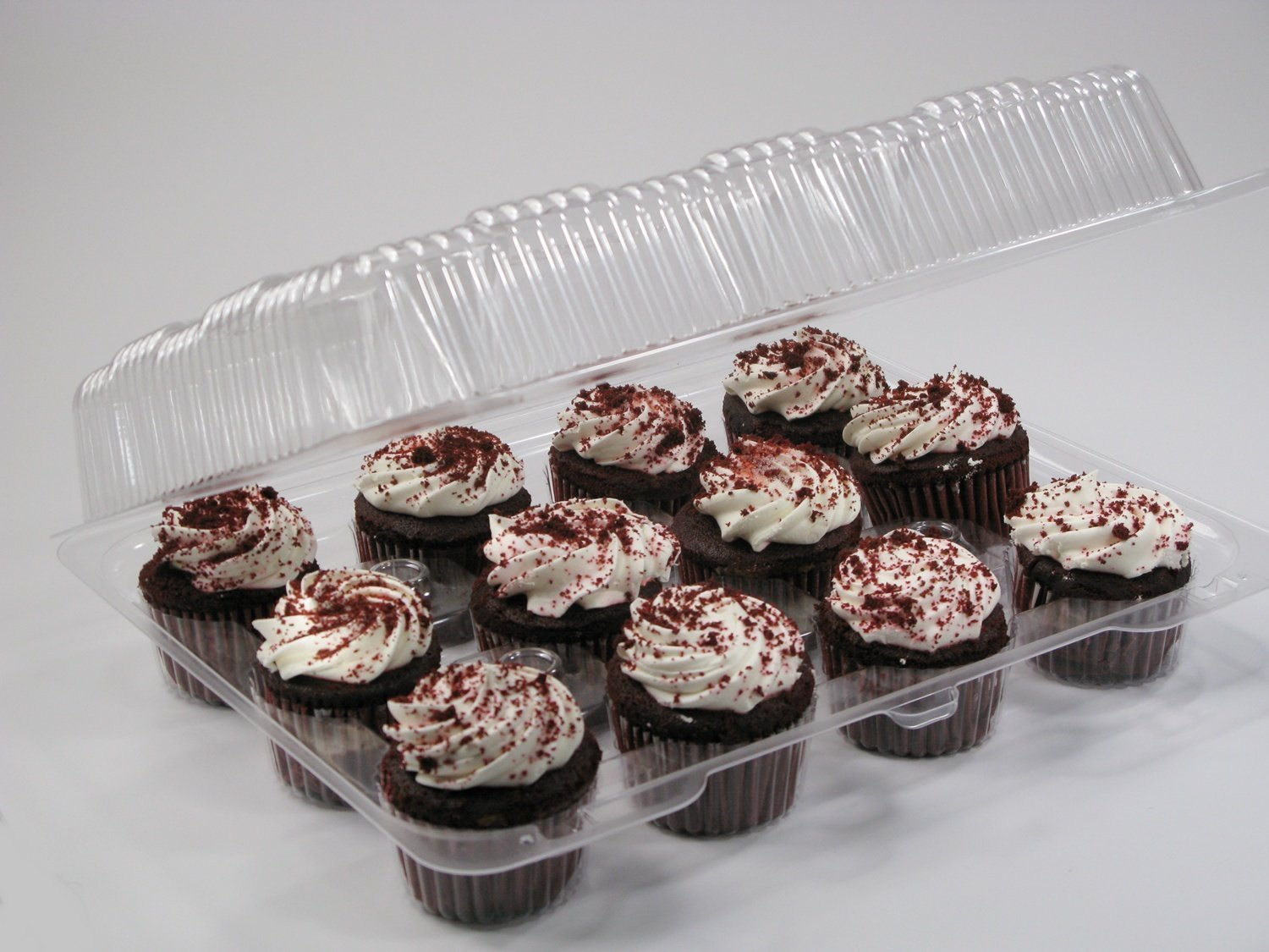 12-big Compartment Cupcake Container with Hinged Lid, Clear 12 compartment cupcake boxes, clear cupcake containers, 12 Cavity Cupcake Container (24,- 12 Compartment Cupcake Boxes ) by The Bakers Pantry (Image #9)