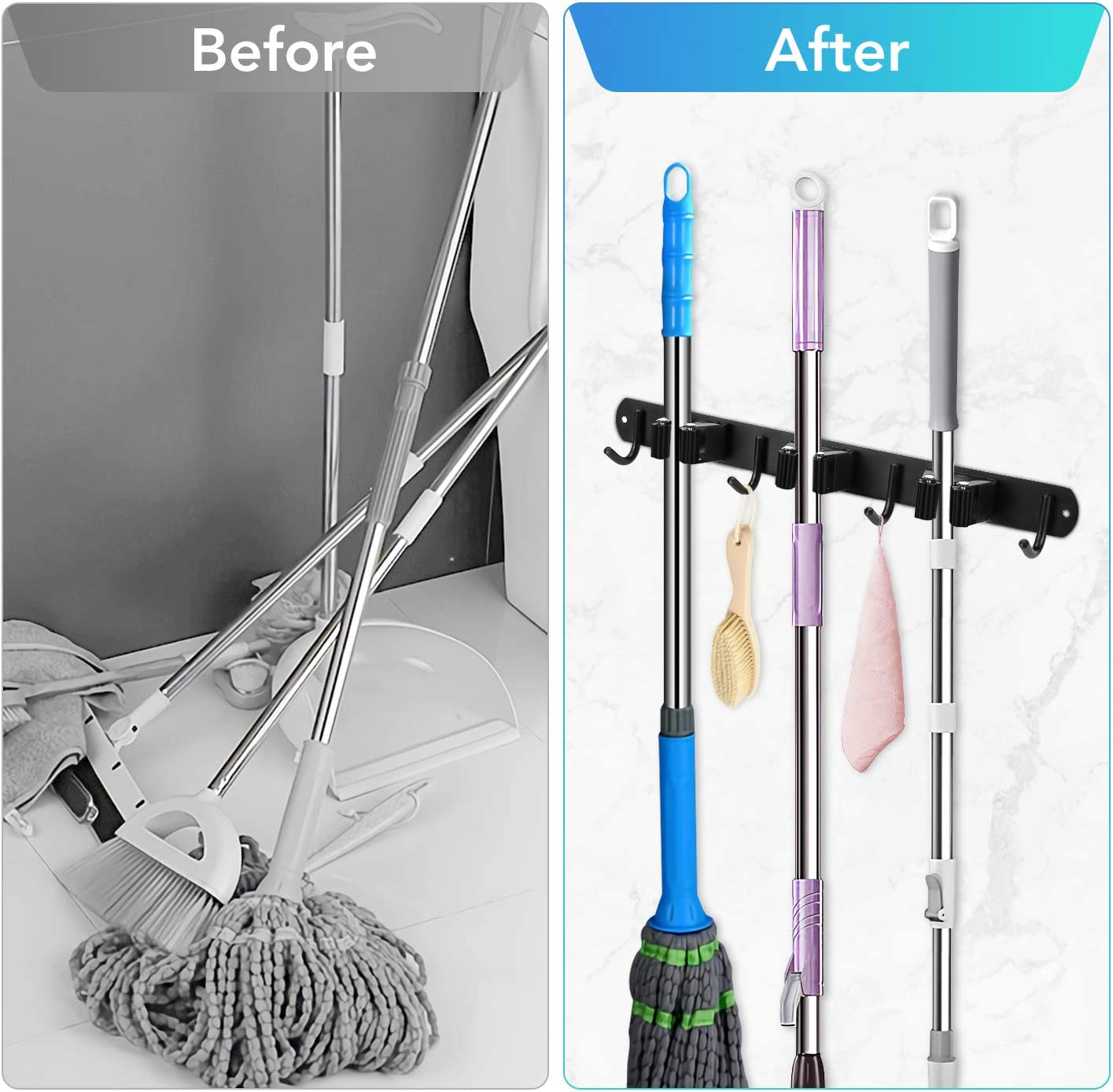 Mop Broom Holder Wall Mount 3 Racks 4 Hooks Stainless Steel Storage Hanger 3M Tape Nail-Free Glue Screws Drilling Installation Up to 66lb 2 Packs